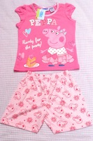 TU Peppa pig 2 piece set summer outfit short sleeved shorts stripe 2013 models/5sizes:1T-2T-3T-4T-5T