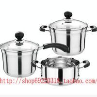 Thickening non-magnetic stainless steel multi-purpose complex bottom pot three-piece kitchen pot set suits