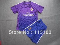 free shipping!!! thai quality 13/14 Real Madrid Goalkeeper Purple #1 Casillas kids child football shirts youth jerseys &short