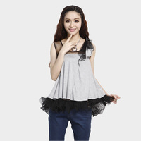 2013 summer plus size black gauze patchwork chiffon t-shirt female loose sleeveless vest top