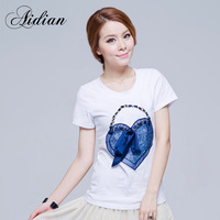 White cotton 2013 women's o-neck short-sleeve T-shirt female elegant slim