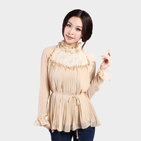2013 women's spring long-sleeve chiffon lace chiffon shirt top plus size peter pan collar slim chiffon shirt female