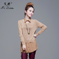 Chiffon patchwork shirt collar faux two piece set sweater female plus size loose long-sleeve medium-long basic shirt