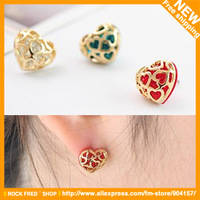 Vintage jewelry Earrings.Gold.Hollow out.Generic drill.Heart Alloy Women's.12 Pair/ lot.Wholesale 2013 Designer