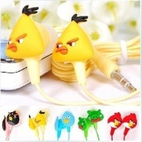 20pcs/lot Lovely Carton Red Birds 3.5mm Stereo In-ear Earphone Headphone bird earphone