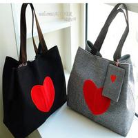 2013 spring women's bag red heart canvas bag .High quality women big canvas fashion shoulder bag