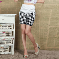 summer black and white plaid pants maternity knee-length capris pregnant plus size shorts 342