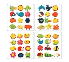 Wholesale - 120pcs lot Children's wooden toys educational toys early childhood mental cartoon cute fridge magnet(China (Mainland))