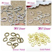 Wholesale Jewelry Making DIY Handmade Findings Accessories Gold/Silver/Rhodium/Bronze Plated Metal Oval Jump Split Rings 4*5mm