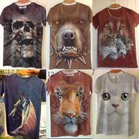 free shipping Dimensional animal 3d t-shirt short sleeve men's short-sleeve Slim creative trends tshirt
