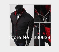 2014 Fashion SLIM CASUAL MEN'S shirts STRIPED LONG-SLEEVED shirt men 2 COLOR