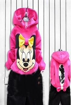 1 PCS pink suit girls long sleeve hoodies Mickey Minnie cartoon top kids shirts