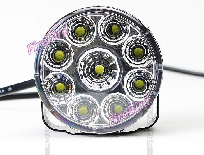 Led 9W fog lights or DRL, D7cm round piranha white led daytime lamp, E4 waterproof, free shipping(China (Mainland))