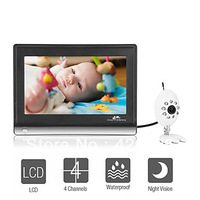 Wireless Widescreen 7 Inch LCD Baby Monitor with Night Vision Camera ,Free Shipping