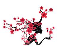 Elegant Flower Princess Wall Stickers Graceful Peach Blossom Fairy Wall Stickers Furnishings Romantic Living Room Decoration