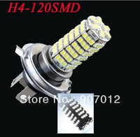 10pcs H4 120 SMD Pure White Fog Signal Tail Driving 120 LED Car Light Lamp Bulb Free shippping