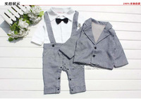 2013hot new cute baby boys long sleeve plaid cotton gentelman rompers new born one-piece clothing + kids outfits 2pcs autumn set