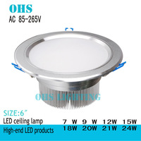 NEW 10PCS/LOT LED Downlight 7-24W,AC 85-265V ,Silver+Aluminum Recessed Lamp Commercial Electric
