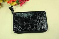 Fashion women's wallet long design wallet day clutch bag japanned leather crocodile pattern zipper wallet