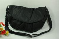 Women's fashion bags women's handbag sewing thread flip pleated messenger bag knitted twisted shoulder strap shoulder bag