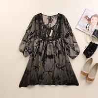 Free Shipping Summer High Style Women Plus Size Mm Long Design Printed Loose Chiffon Dress 2014 New Fashion