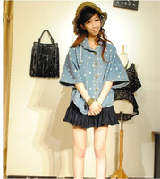 Sweet  Batwing Sleeve Loose Denim Coat Outerwear\Korea Vintage Half Sleeve Caputium  Cardigan Jeans Jacket Women Fashion