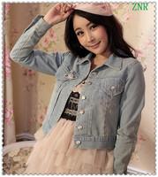 2013 Spring&Autumn Light Blue Long Sleeve Vintage Short Slim Denim Jacket\Sweet Fashion Pocket Designer Tops For Women 2013