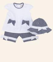 Aykta children's clothing 100% cotton three piece set grey stripe casual set hot-selling