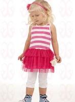 Aykta princess dress spaghetti strap female sweet stripe patchwork child princess dress