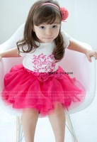 Princess style patchwork yarn patchwork puff skirt one-piece dress children's clothing 2014