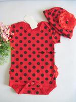 Risunnybaby 2014 children's clothing summer dot cute romper set hooded children's clothing
