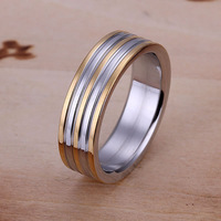 R099 Wholesale! Wholesale 925 silver ring, 925 silver fashion jewelry, Golden Stripe Ring