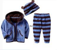Risunnybaby cloth Aykta children's clothing thermal stripe sweatshirt animal style casual sports three piece set