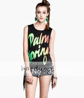 Womens sleeveless black tank with fluorescent color palm springs printed for freeshipping and wholesale