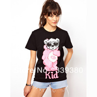 Womens o-neck cotton t-shirt with lovely wearing glass pink bear printed for freeshipping and wholesale