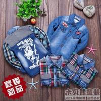 Free Shipping New 2014 Autumn Spring Small Boy Child Turn-down Collar Long Sleeve Denim Shirts Children's Clothing Fashion Flag