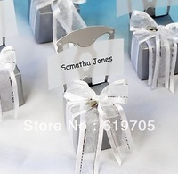Free shipping 200pcs/lot Silver Chair Style Favor Box With Heart Charm And Ribbon Party Birthdays favor