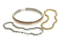 Free Shipping (300pcs/lot) Stainless steel bangles for fashion women paved with beads