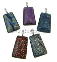 Free shipping!!!Dichroic Glass Pendants,Lucky, Trapezium, mixed colors, approx 30x40x7-8mm, Hole:Approx 7x4mm