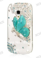 DHL Free shipping fashionable 3D Glitter Bling Crystal Butterfly Case For Samsung Galaxy i8190 S3 Mini 50pcs/lot