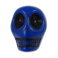 Free shipping!!!Antique Acrylic Beads,Wholesale Jewelry, Skull, opaque, Imitation Antique, blue, 12.50x10x12mm, Hole:Approx 2mm