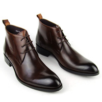 size37-45 2013  men's high upper formal genuine leather shoes coffee waist brief commercial pointed toe office dress shoes