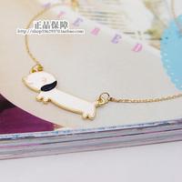 Chain white oil dachshund dog 14k gold short design necklace female