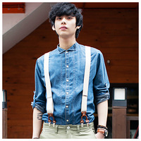2013 spring and summer tomonari men's clothing stand collar long-sleeve casual denim shirt
