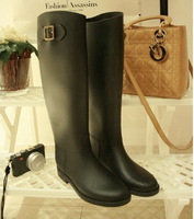 Rain  boots Hot-selling women's  elegant Women gaotong hasp stovepipe  elegant long-barreled   shoes  rainboots  Free shipping
