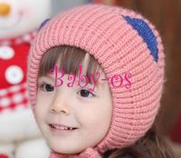 2013 NEW label baby crocheted cap cat ear cap Boy girl Hats,winter Balaclavas baby hat,Knitted caps children Keep warm hat