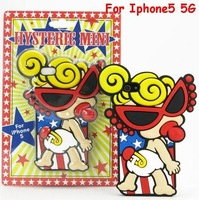 Brand New 3D Cartoon Silicone Cover Hysteric mini Lovely baby with Glasses Rubber Soft Case For Iphone5 5G free shipping 10pcs