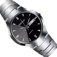 High quality double calendar quartz mens watch waterproof rhinestone tungsten steel male watches free shipping