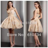 CT04 Cheap One Shoulder Mini Organza Women's Dresses Short Prom Dress Elegant Sexy Cocktail Dress