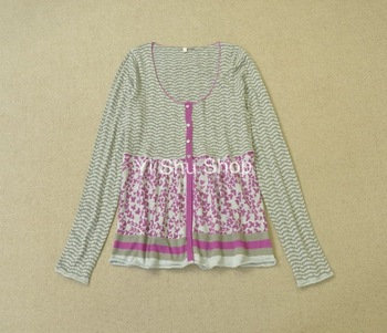 Clothing cotton blending crochet print o-neck long-sleeve cardigan fancy